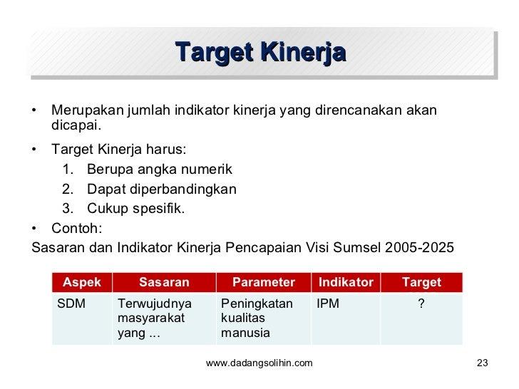 Target Kinerja <ul><li>Merupakan jumlah indikator kinerja yang direncanakan akan dicapai.  </li></ul><ul><li>Target Kinerj...