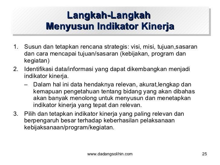 Langkah-Langkah  Menyusun Indikator Kinerja <ul><li>Susun dan tetapkan rencana strategis: visi, misi, tujuan,sasaran dan c...