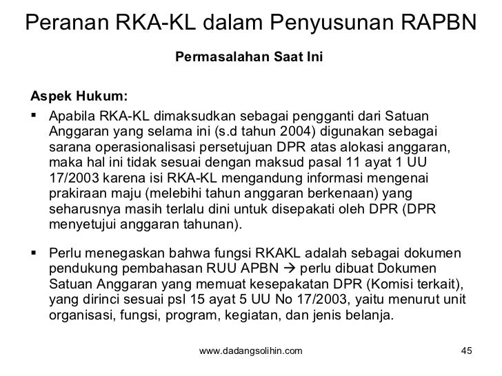 Peranan RKA-KL dalam Penyusunan RAPBN <ul><li>Permasalahan Saat Ini  </li></ul><ul><li>Aspek Hukum: </li></ul><ul><li>Apab...