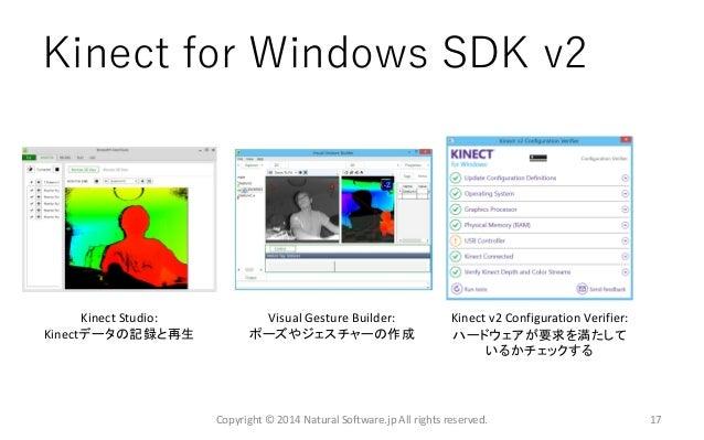Kinect for Windows SDK v2 Kinect Studio: Kinectデータの記録と再生 Visual Gesture Builder: ポーズやジェスチャーの作成 Copyright © 2014 Natural So...