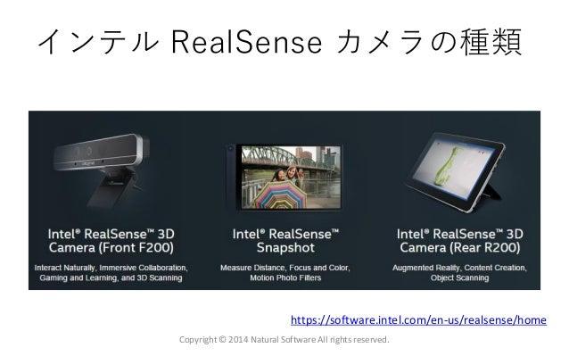 インテル RealSense カメラの種類 Copyright © 2014 Natural Software All rights reserved. https://software.intel.com/en-us/realsense/ho...