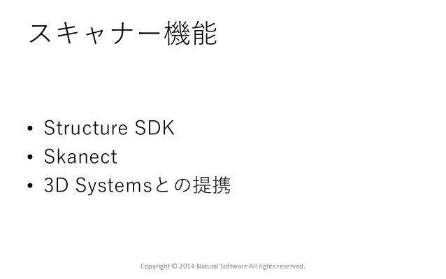 スキャナー機能 • Structure SDK • Skanect • 3D Systemsとの提携 Copyright © 2014 Natural Software All rights reserved.