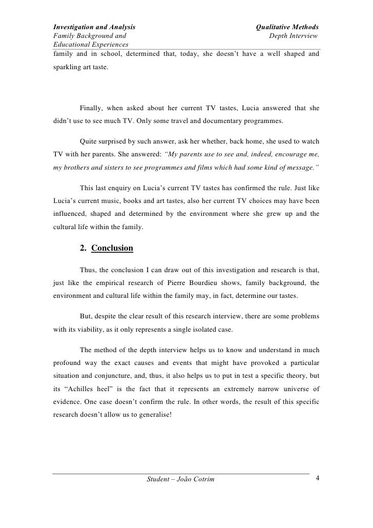 depth interview essay  4 investigation and analysis qualitative methods family background
