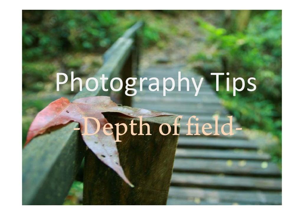 PhotographyTips  -Depth of field-