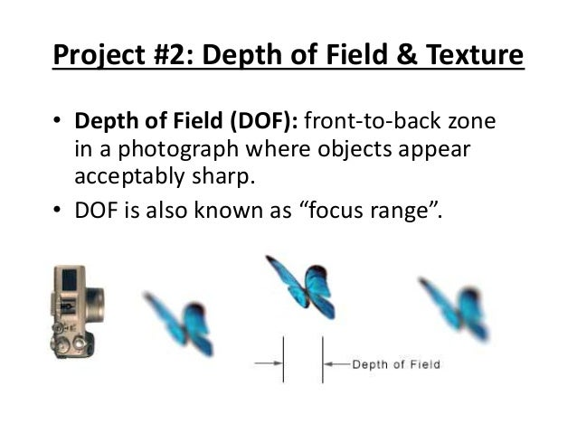 Project #2: Depth of Field & Texture • Depth of Field (DOF): front-to-back zone in a photograph where objects appear accep...