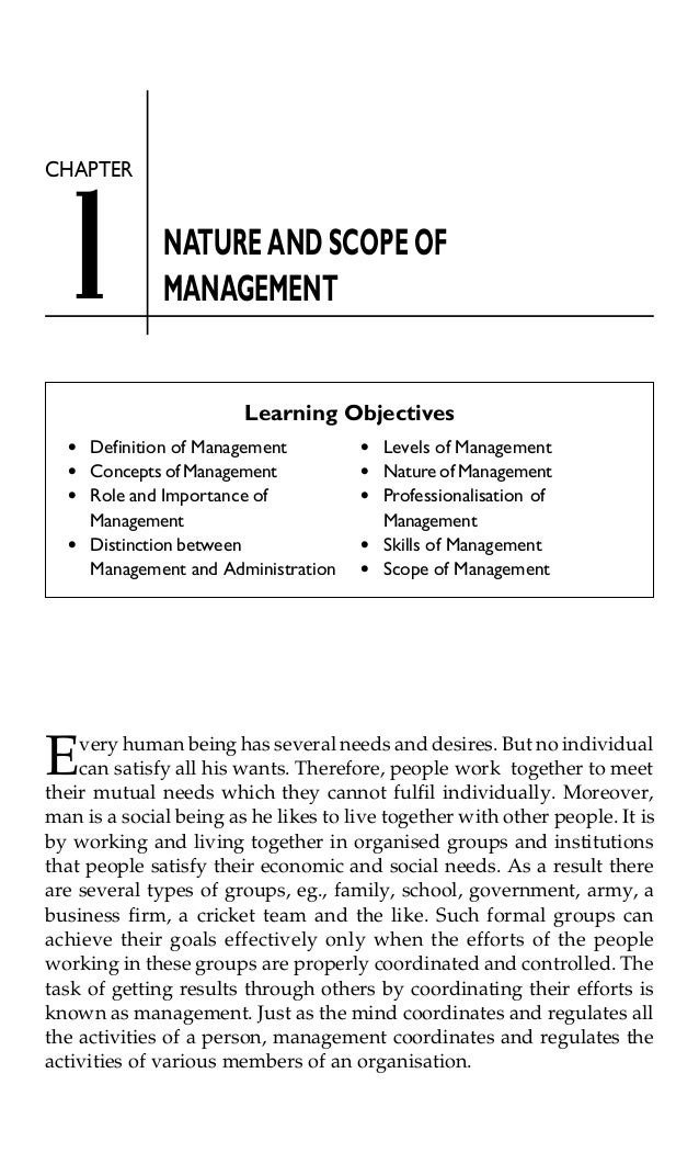 1  CHAPTER  NATURE AND SCOPE OF MANAGEMENT Learning Objectives  l l l  l  E  Definition of Management Concepts of Manageme...
