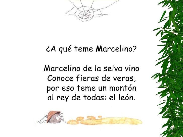 ¿A qué teme  M arcelino? Marcelino de la selva vino Conoce fieras de veras, por eso teme un montón al rey de todas: el leó...