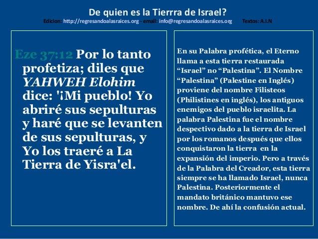 De Quien Es La Tierra De Israel
