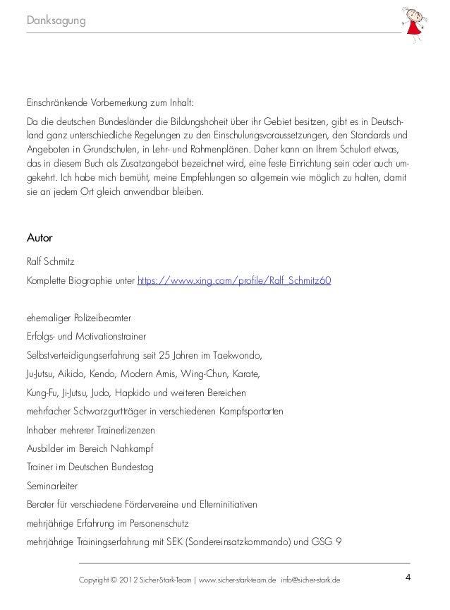 4 Danksagung Copyright © 2012 Sicher-Stark-Team   www.sicher-stark-team.de info@sicher-stark.de Einschränkende Vorbemerkun...