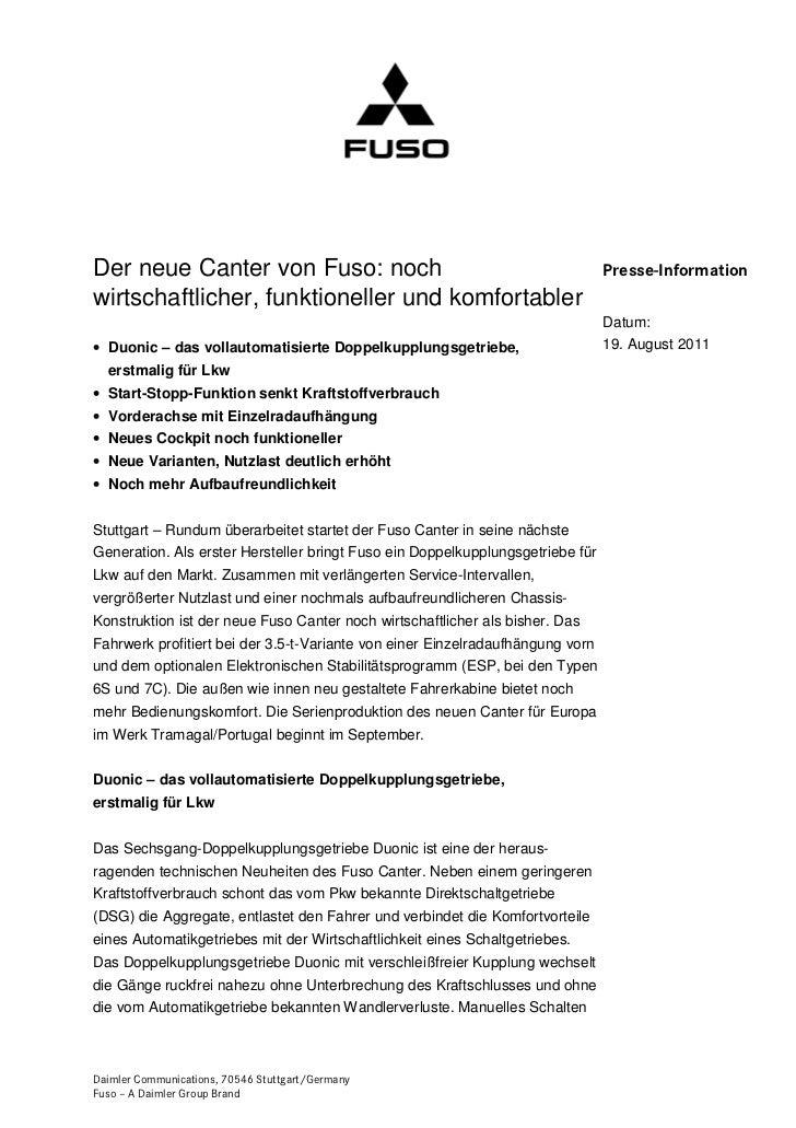 Der neue Canter von Fuso: noch                                                  Presse-Informationwirtschaftlicher, funkti...