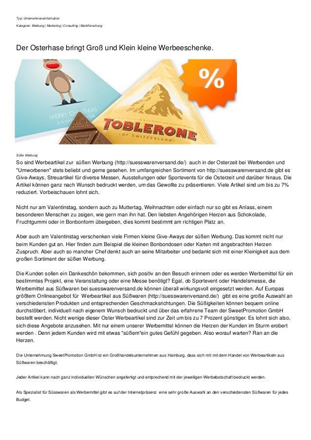 Typ: Unternehmensinformation Kategorie: Werbung | Marketing | Consulting | Marktforschung Der Osterhase bringt Groß und Kl...