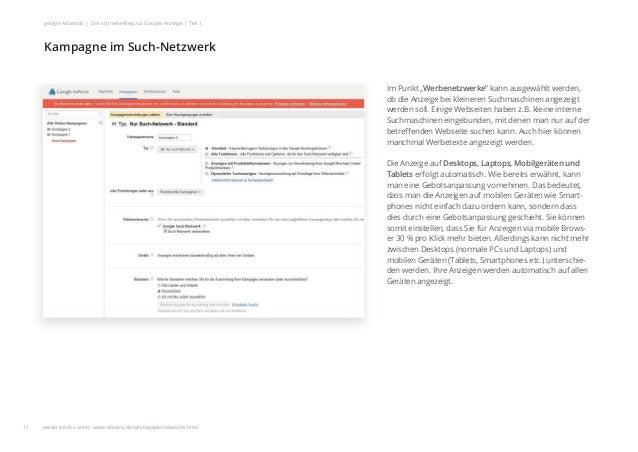 """Im Punkt """"Werbenetzwerke"""" kann ausgewählt werden, ob die Anzeige bei kleineren Suchmaschinen angezeigt werden soll. Einige..."""