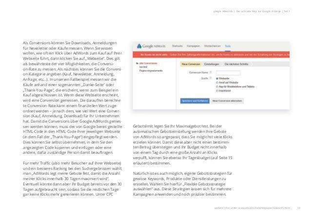 14 google Adwords | Der schnelle Weg zur Google-Anzeige | Teil 1 Als Conversions können Sie Downloads, Anmeldungen für New...