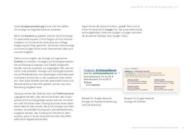 16 google Adwords | Der schnelle Weg zur Google-Anzeige | Teil 1 Unter Anzeigenerweiterung können Sie Ihre AdWo- rds-Anzei...