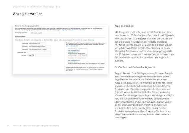 Anzeige erstellen: Mit den gesammelten Keywords erstellen Sie nun Ihre Headline (max. 25 Zeichen) und Textzeile 1 und 2 (j...