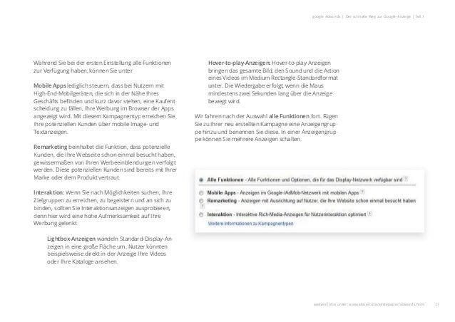 22 google Adwords | Der schnelle Weg zur Google-Anzeige | Teil 1 Während Sie bei der ersten Einstellung alle Funktionen zu...