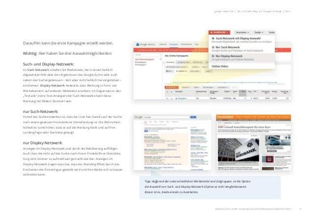8 google Adwords | Der schnelle Weg zur Google-Anzeige | Teil 1 Daraufhin kann die erste Kampagne erstellt werden. Wichtig...