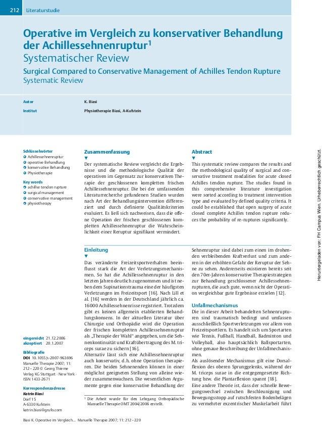 Operative im Vergleich zu konservativer Behandlung der Achillessehnenruptur1 Systematischer Review Surgical Compared to Co...