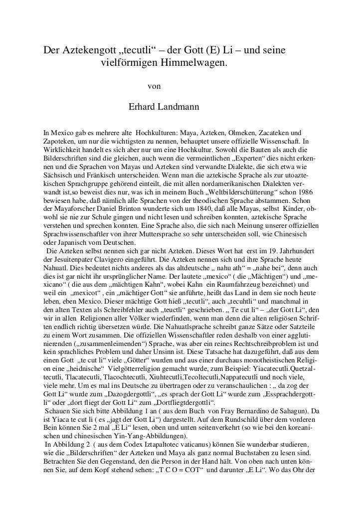 """Der Aztekengott """"tecutli"""" – der Gott (E) Li – und seine           vielförmigen Himmelwagen.                               ..."""