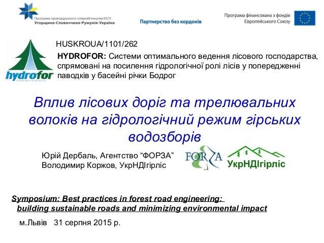 Вплив лісових доріг та трелювальних волоків на гідрологічний режим гірських водозборів HUSKROUA/1101/262 HYDROFOR: Системи...