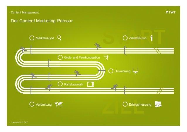 Copyright 2013 TWTGrob- und FeinkonzeptionZIELSTARTContent ManagementDer Content Marketing-ParcourZieldefinitionMarktanaly...
