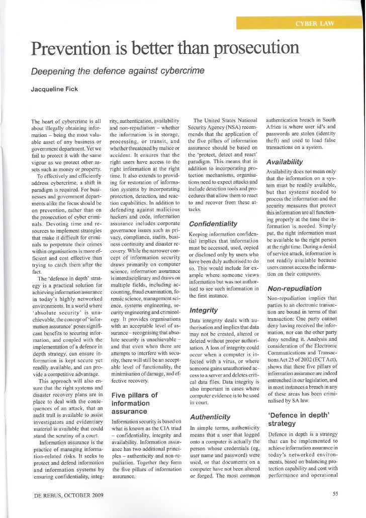 Prevention is better than prosecution  De Rebus Magazine October 2009 edition