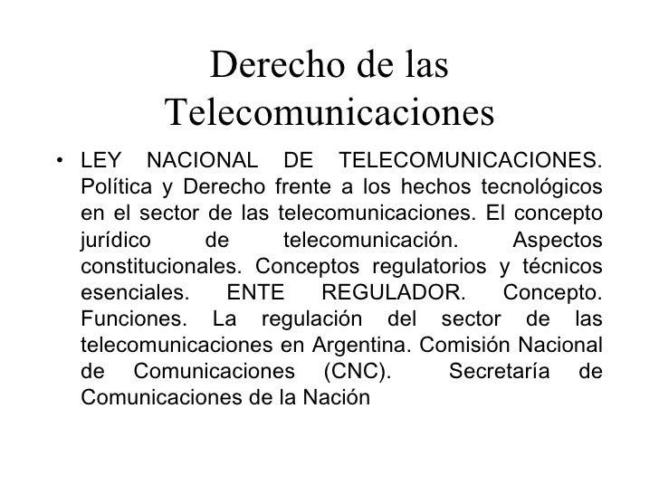 Derecho de las Telecomunicaciones Slide 2