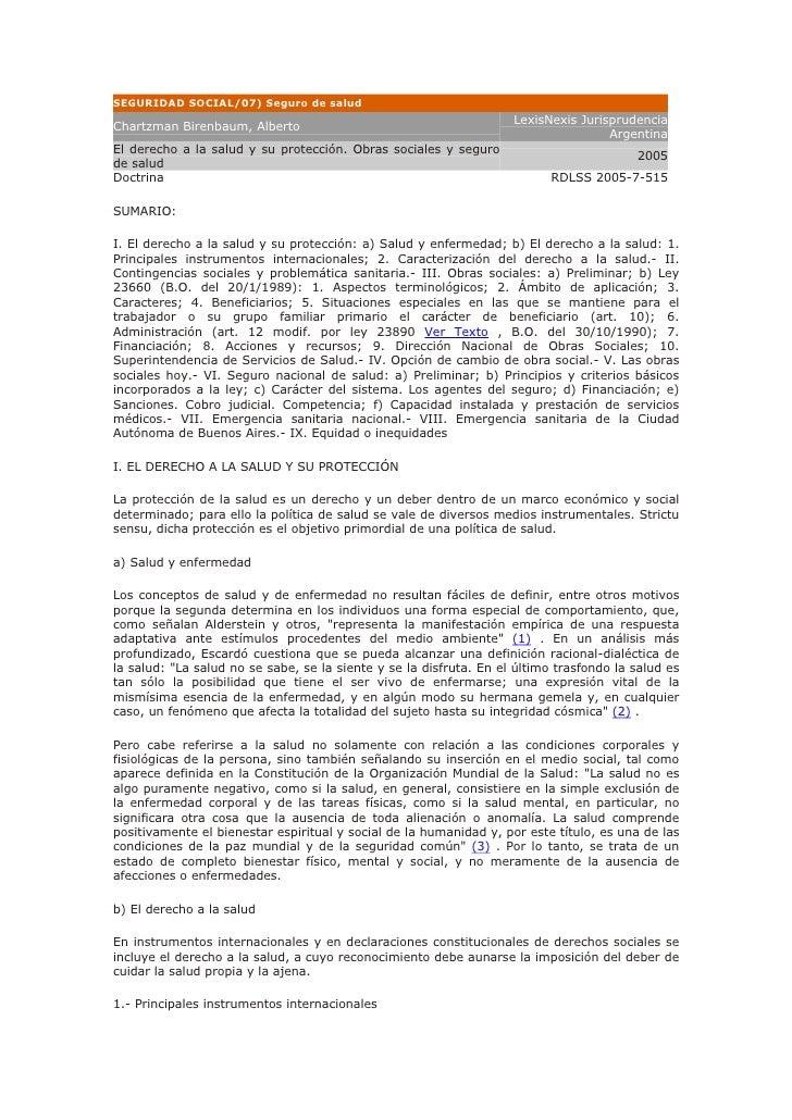 SEGURIDAD SOCIAL/07) Seguro de salud                                                                     LexisNexis Jurisp...