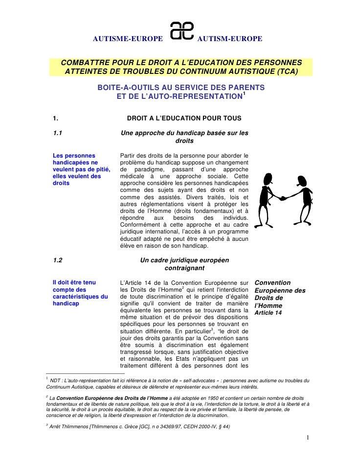 AUTISME-EUROPE                                       AUTISM-EUROPE          COMBATTRE POUR LE DROIT A L'EDUCATION DES PERS...