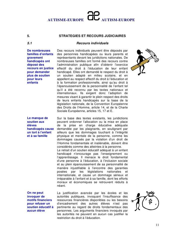 AUTISME-EUROPE                            AUTISM-EUROPE5.                    STRATEGIES ET RECOURS JUDICIAIRES5.1         ...