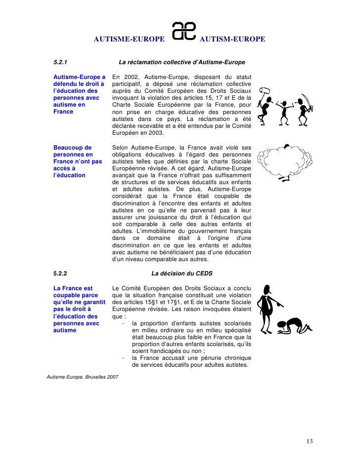 AUTISME-EUROPE                           AUTISM-EUROPE  5.2.1                          La réclamation collective d'Autisme...