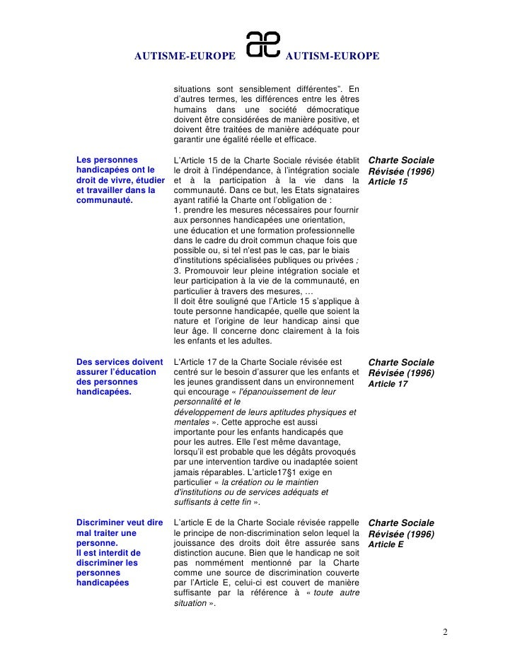 """AUTISME-EUROPE                         AUTISM-EUROPE                          situations sont sensiblement différentes"""". E..."""