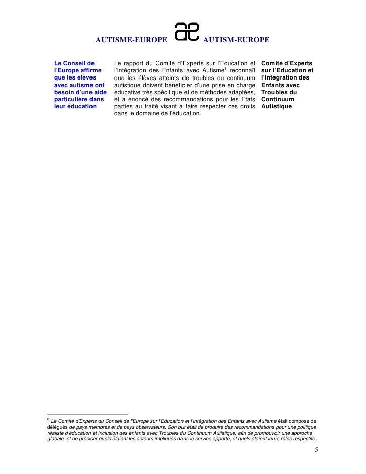 AUTISME-EUROPE                                   AUTISM-EUROPE    Le Conseil de             Le rapport du Comité d'Experts...