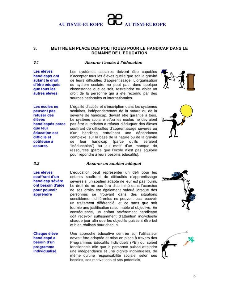 AUTISME-EUROPE                       AUTISM-EUROPE3.       METTRE EN PLACE DES POLITIQUES POUR LE HANDICAP DANS LE        ...