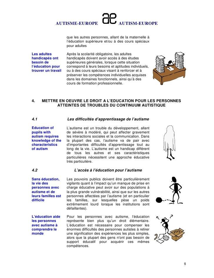 AUTISME-EUROPE                          AUTISM-EUROPE                     que les autres personnes, allant de la maternell...