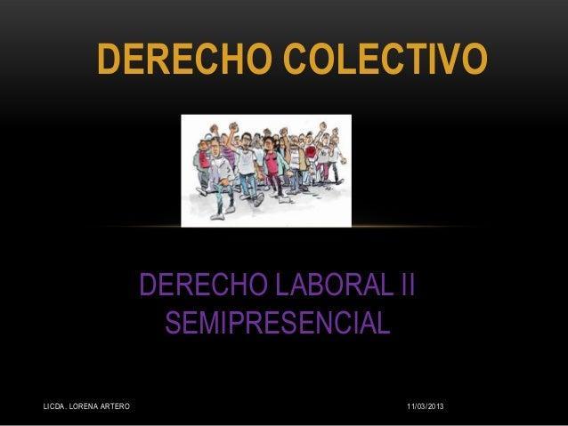 DERECHO COLECTIVO                       DERECHO LABORAL II                        SEMIPRESENCIALLICDA. LORENA ARTERO      ...