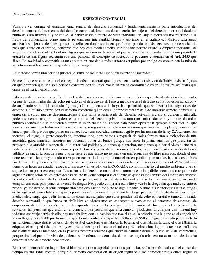 Derecho Comercial I                                               DERECHO COMERCIALVamos a ver durante el semestre tema ge...