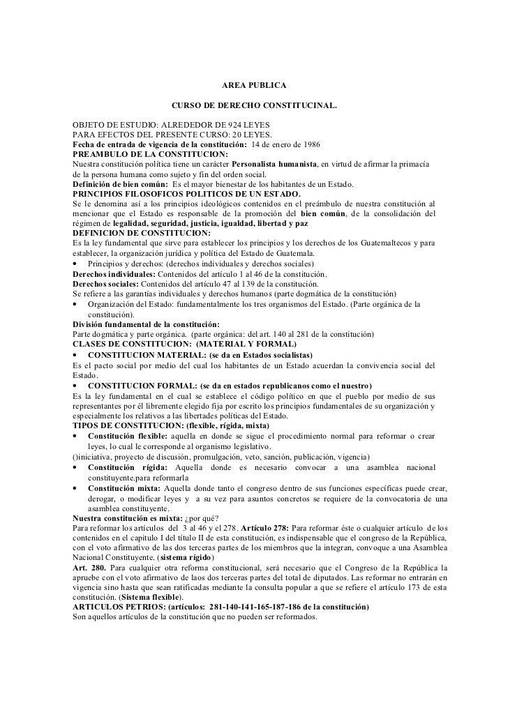 AREA PUBLICA                             CURSO DE DERECHO CONSTITUCINAL.OBJETO DE ESTUDIO: ALREDEDOR DE 924 LEYESPARA EFEC...