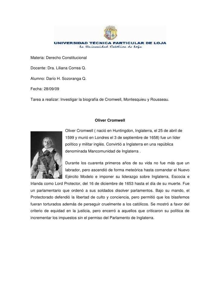 Materia: Derecho Constitucional<br />Docente: Dra. Liliana Correa Q.<br />Alumno: Darío H. Sozoranga Q. <br />Fecha: 28/09...