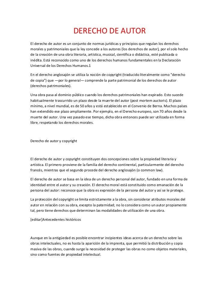 DERECHO DE AUTOREl derecho de autor es un conjunto de normas jurídicas y principios que regulan los derechosmorales y patr...