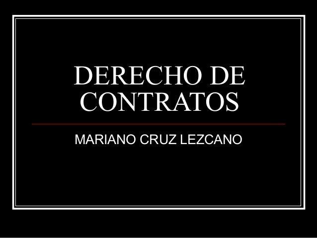 DERECHO DECONTRATOSMARIANO CRUZ LEZCANO