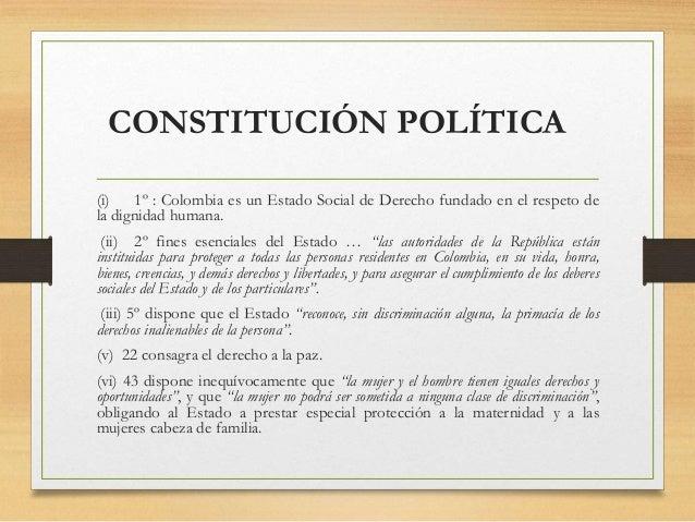 CONSTITUCIÓN POLÍTICA (i) 1º : Colombia es un Estado Social de Derecho fundado en el respeto de la dignidad humana. (ii) 2...