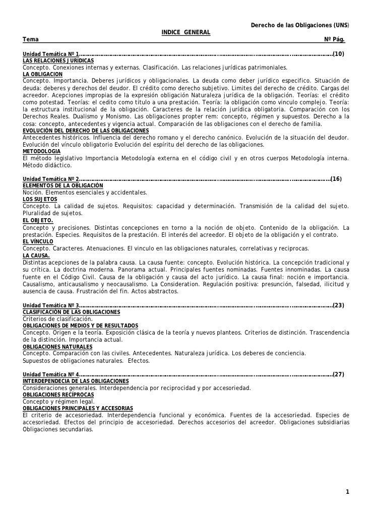 Derecho de las Obligaciones (UNS)                                                  INDICE GENERALTema                     ...