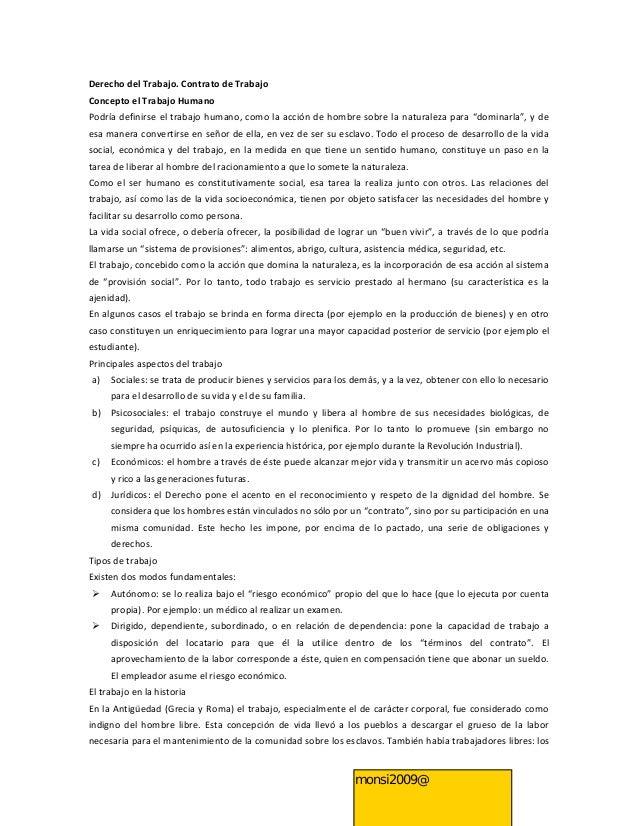 Derecho del Trabajo. Contrato de TrabajoConcepto el Trabajo HumanoPodría definirse el trabajo humano, como la acción de ho...