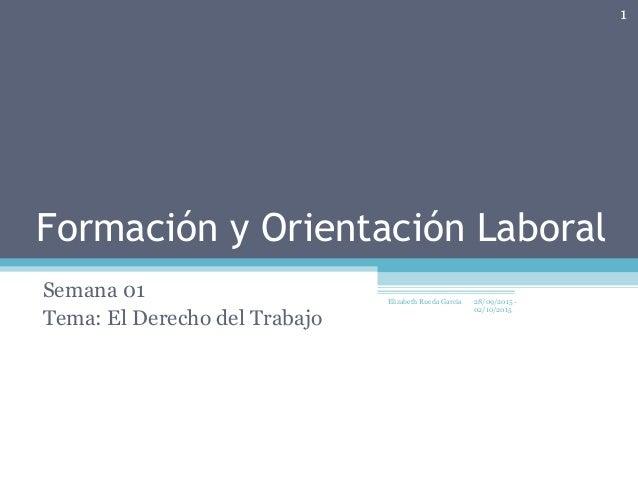 Formación y Orientación Laboral Semana 01 Tema: El Derecho del Trabajo 28/09/2015 - 02/10/2015 1 Elizabeth Rueda Garcia
