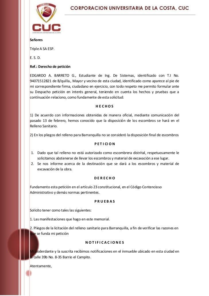 Señores<br />Triple A SA ESP. <br />E. S. D.<br />Ref.: Derecho de petición<br />EDGARDO A. BARRETO G., Estudiante de Ing....