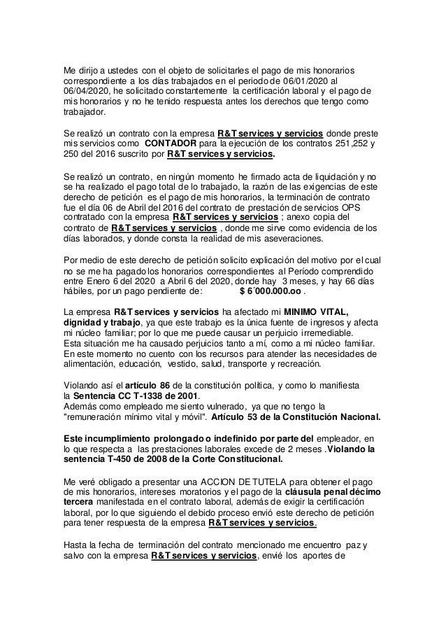 Derecho de petici n para reclamar el pago de salarios Contrato de trabajo indefinido servicio hogar familiar