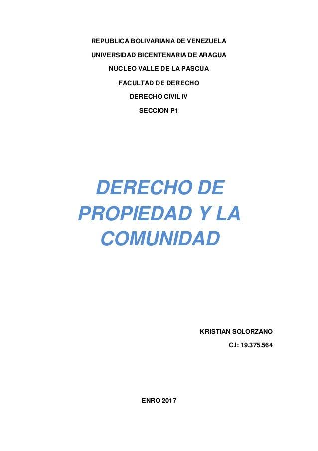 REPUBLICA BOLIVARIANA DE VENEZUELA UNIVERSIDAD BICENTENARIA DE ARAGUA NUCLEO VALLE DE LA PASCUA FACULTAD DE DERECHO DERECH...
