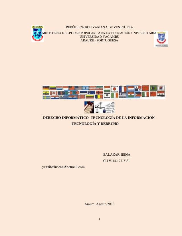 1 REPÚBLICA BOLIVARIANA DE VENEZUELA MINISTERIO DEL PODER POPULAR PARA LA EDUCACIÓN UNIVERSITARIA UNIVERSIDAD YACAMBÚ ARAU...
