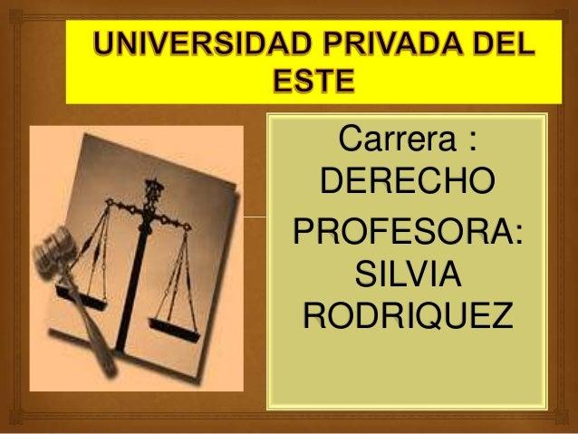 Carrera : DERECHO PROFESORA: SILVIA RODRIQUEZ